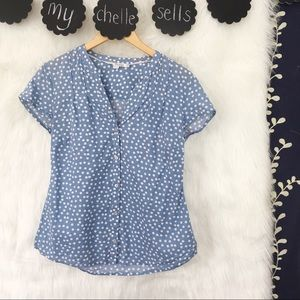 Boden Blue Polka Dot Short Sleeve Button Down